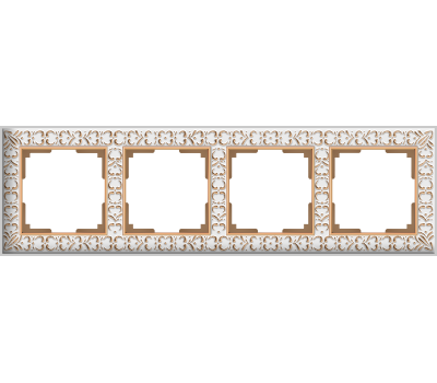 Рамка на 4 поста WERKEL WL07-Frame-04, белое золото